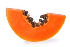 Neue reife Papayascheibe lokalisiert auf weißem Hintergrund Lizenzfreies Stockbild