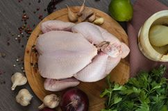 Neue rohe Hühnerzusammensetzung auf hölzernem Hintergrund Lizenzfreie Stockfotos