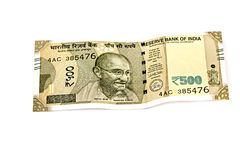 Neue 500-Rupien-Banknoten Stockfotografie