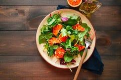 Neue Salatmischung mit Blutorangen auf einem hölzernen Hintergrund heal lizenzfreie stockfotografie
