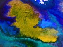 Neue schöne moderne strukturierte nasse mit Blumenwäsche des Aquarellkunstzusammenfassungshintergrundes verwischte Fantasie Stockbild