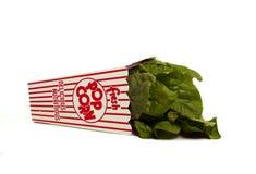 Neue Spinatsflecken aus Popcornbehälter heraus lizenzfreies stockfoto