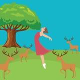 Neue springende Freiheit des Frauenmädchens in den wilden Lebenrotwild der Waldfrischluft Stockbild