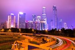 Neue Stadt Guangzhous Pearl River nachts Lizenzfreies Stockbild