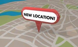 Neue Standort-Speicher-Geschäfts-festliche Eröffnung Pin Map 3d Illustratio Lizenzfreie Stockfotos