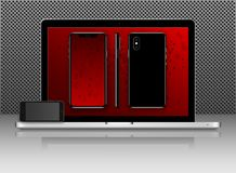 Neue Telefonfront und schwarz und Seiten, Laptopvektor, der das Format eps10 lokalisiert auf rotem Hintergrund zeichnet vektor abbildung