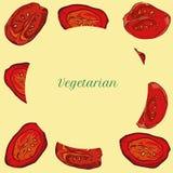 Neue Tomatenscheiben des Vektors für Menühintergründe vektor abbildung