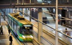 Neue Tramlinie im Tunnel in Posen, Polen Stockbilder