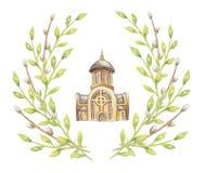 Neue ukrainische griechische katholische Kirche lokalisiert im weißen Hintergrund und im Rahmen von grünen Niederlassungen für Ce lizenzfreie abbildung