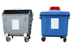 Neue und alte Abfallbehälter lokalisiert über Weiß Lizenzfreies Stockfoto