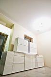 Neue weiße Küchenmöbel Stockbild