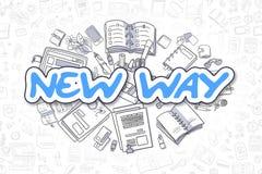 Neue Weise - Karikatur-Blau-Wort Die goldene Taste oder Erreichen für den Himmel zum Eigenheimbesitze Stockbilder