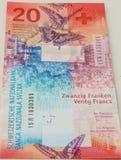 Neue zwanzig Rechnungen des Schweizer Franken Stockbilder