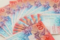 Neue zwanzig Rechnungen des Schweizer Franken Stockfotografie