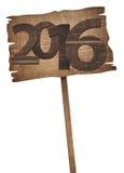Neue zwanzig sechzehn-Jahr-Zahl geschrieben auf hölzernes Lizenzfreie Stockfotografie