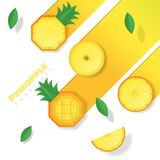 Neuer Ananasfruchthintergrund in der Papierkunstart Lizenzfreie Stockfotografie