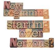 Neuer Anfang und vorbei beginnen Stockbilder