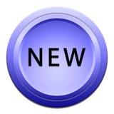 Neuer blauer Aufkleber lizenzfreie stockfotografie