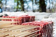 Neuer Block von Arrosticini im Freien Stockfoto