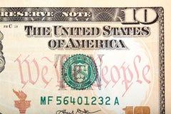 Neuer Dollarschein des Amerikaners zehn eine Nahaufnahme Stockbilder