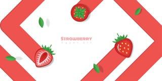 Neuer Erdbeerfruchthintergrund in der Papierkunstart Stockfotografie