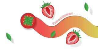 Neuer Erdbeerfruchthintergrund in der Papierkunstart Stockfotos