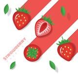 Neuer Erdbeerfruchthintergrund in der Papierkunstart Lizenzfreie Stockfotos