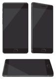 Neuer glänzender schwarzer Handy lokalisiert auf Weiß Stockfotografie