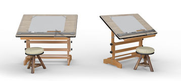 Neuer hölzerner Zeichentisch mit Werkzeugen und Schemel, Beschneidungspfad I Stockbilder