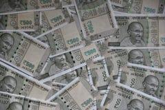 Neuer Inder 500-Rupien-Banknoten, ganzer Hintergrund Stockbild