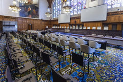 Neuer Internationaler Gerichtshof Courtroom Stockfotos