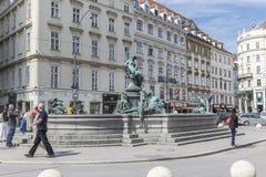 Neuer Markt Square and the Baroque fountain.Fountain Providencia Stock Images