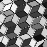 Neuer moderner abstrakt y Schwarzweiss-Hintergrund mit Würfeln Auch im corel abgehobenen Betrag Stockfoto