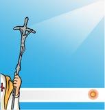 Neuer Papst mit Argentinien-Flagge Stockbild