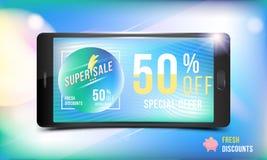 Neuer Rabatt des großen Angebots des Verkaufs 50 Konzept der Werbung mit einem Smartphone und einer Fahne mit Superrabatten und L lizenzfreie abbildung