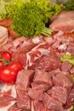 Neuer rohes Fleisch-Hintergrund mit Rindfleisch-Fleisch, der Türkei und Rinderhackfleisch Lizenzfreies Stockfoto
