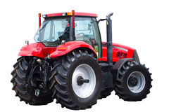 Neuer roter Traktor Stockfoto