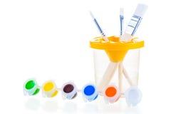 Neuer Satz der Zeichnung mit Acrylfarben Stockbilder
