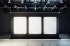 Neuer schwarzer Ausstellungshalleninnenraum stockfotografie