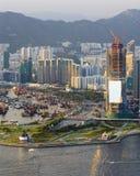 Neuer sich entwickelnder Bezirk neben Victoria-Hafen Stockfoto