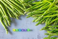 Neuer Spargel der gesunden Ernte und ` GESUNDHEIT ` lizenzfreie abbildung