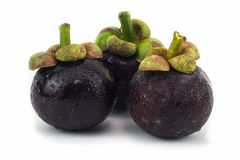 Neuer Tropfen der Mangostanfrüchte Stockfotos