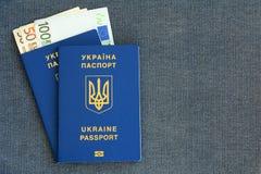 Neuer ukrainischer biometrischer Pass zwei mit den Banknoten Euro auf einem grauen Stofffischgrätenmusterhintergrund Stockbild