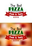 Neuer und geschmackvoller Pizzaaufkleber Stockbilder