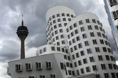 Neuer Zollhof i Dusseldorf, Tyskland Arkivbild
