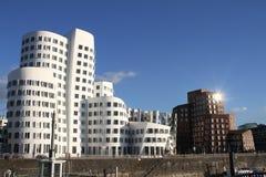 Neuer Zollhof på hamnen i Dusseldorf, Tyskland Fotografering för Bildbyråer