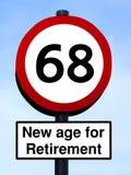 Neues Alter für Ruhestand 68 roadsign Stockfotografie