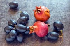 Neues Bündel der blauen Trauben auf schwarzem Hintergrund Lizenzfreie Stockfotos
