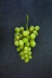 Neues Bündel grüne Trauben lokalisiert auf dunkelgrauem Schieferstein Stockbild
