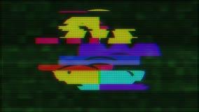 Neues dynamisches Retro- frohes buntes Retro- Weinlesevideo der traurigen Schleifenstörschubstörungsanimation des Lächelngesichts stock abbildung